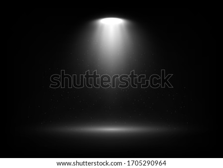 Vector spotlight on scene with light beams and particles in the air. Design for presentation your product. Eps 10. Photo stock ©
