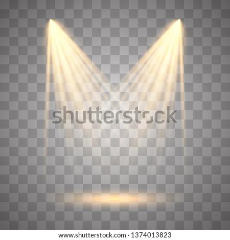 Vector Spotlights. Scene illumination collection, transparent effects. Light Effects.