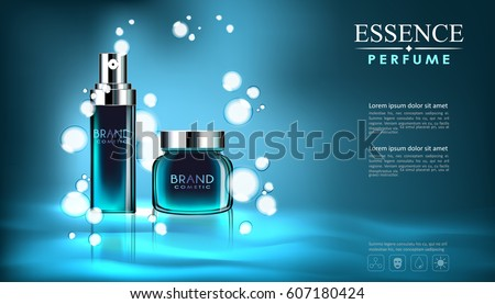 vector spray bottle fresh aroma cosmetic mockup on blue background, with your brand, ready for print ads or magazine design, realistic 3d style #607180424