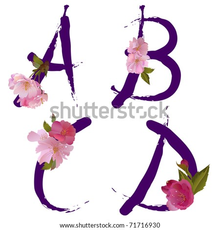 Vector spring alphabet with gentle sakura flowers letters A,B,C,D