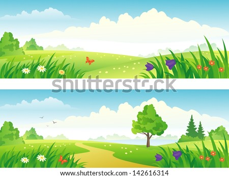 Vector Spring And Summer Landscapes Banners