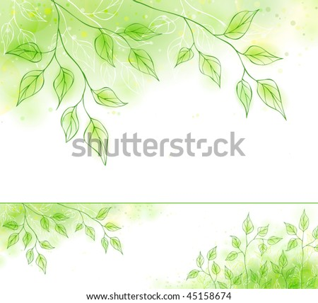 Vector spring banner with green foliage