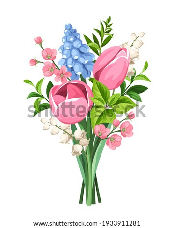 vector spring bouquet of pink