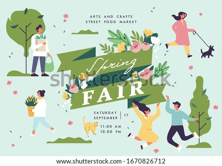 Vector spring fair poster, flyer or banner or banner template with people enjoying their time outdoors in park. Spring holiday season recreation and public event