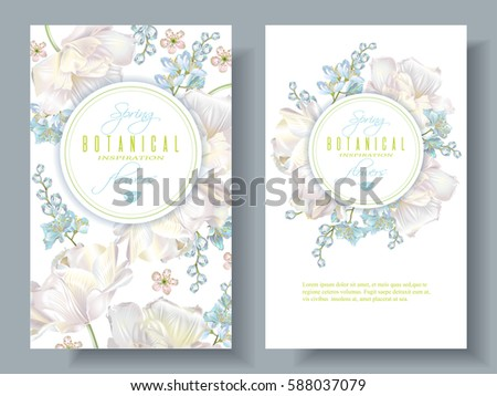 Vector spring flower banners with white tulips on white background. Elegant spring design for natural cosmetics, perfume. With place for text. Can be used as greeting card or wedding invitation