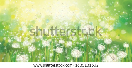 vector spring  green background
