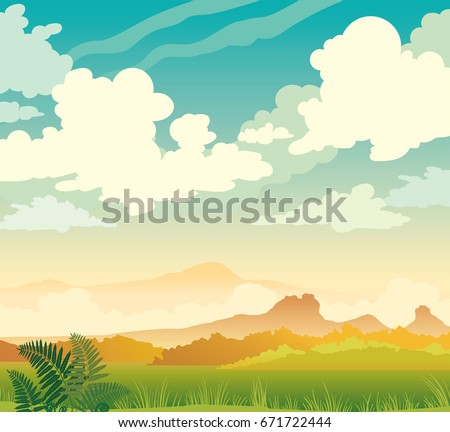 Vector spring illustration. Nature morning landscape. Silhouette of mountains, green grass, fern and cumulus clouds on a blue sky.