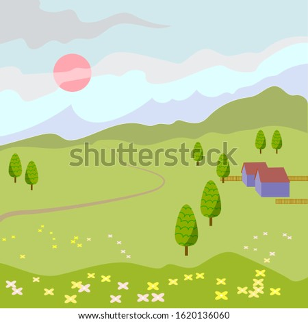 vector spring landscape with