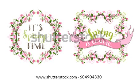 vector spring ornate frames