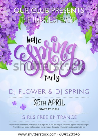 vector spring party poster with
