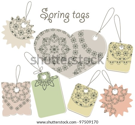 vector spring tags with floral pattern, can be used separately
