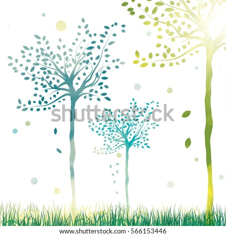 vector spring trees bright