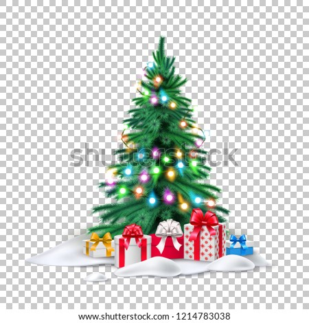 Vector spruce christmas tree christmas lights garland, present boxes in snow, realistic green needles transparent background. 3d traditional new year holiday decoration, xmas greeting card design