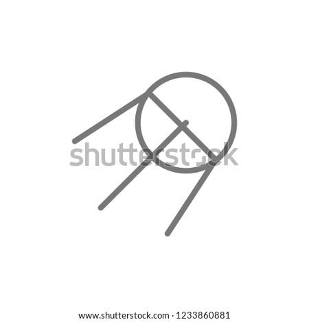Vector sputnik, rocket line icon. Symbol and sign illustration design. Isolated on white background