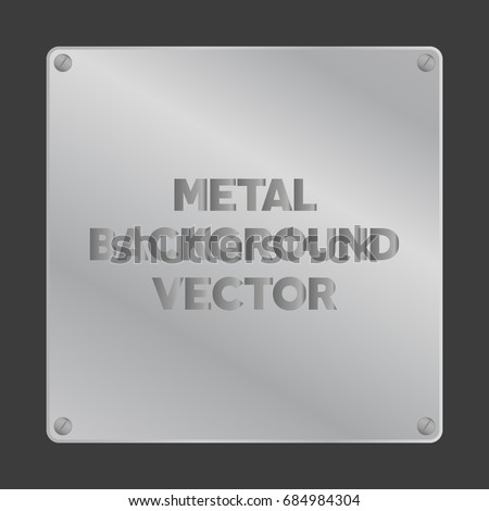 Vector square brushed metal steel nameplate with screws