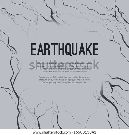Vector square card with earthquake and space for text. Splits and cracks. Faults in the ground. Asphalt disaster. Modern cataclysm. Ravine and rocks. Template for article, slide and your design.