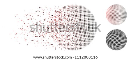 Vector square dotted abstract sphere icon in fractured, pixelated halftone and undamaged entire variants. Disintegration effect uses square particles and horizontal gradient from red to black.