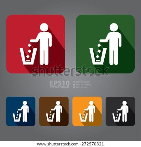 vector   square dustbin  litter