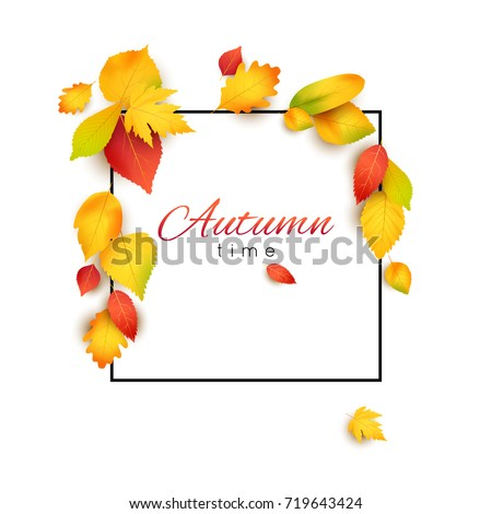 Vector square frame decorated with beautiful autumn leaves