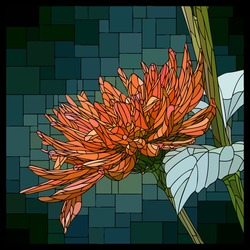 Vector square mosaic with blooming orange aster flower in stained glass window.