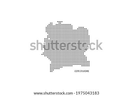 Vector square pixel dotted map of Cote d'Ivoire isolated on white background with Cote d'Ivoire flag. Photo stock ©