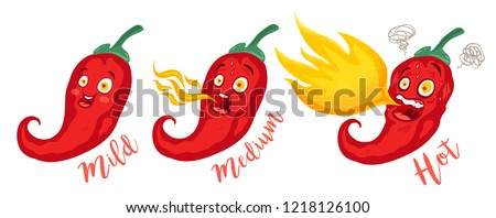 Vector st illustration of a spicy chilli peppers with flame. Cartoon red chilli for mexican or thai food. Cartoon different red chillies.