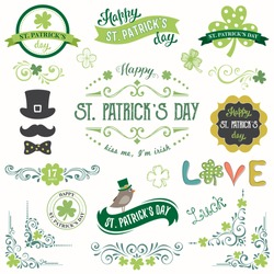 Vector St. Patricks Day set with vintage ornate motifs and typographic design elements.