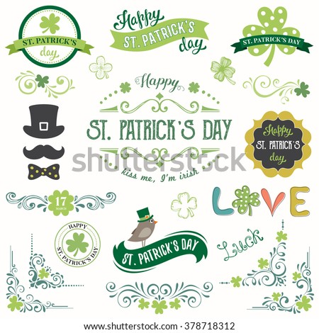 stock-vector-vector-st-patricks-day-set-with-vintage-ornate-motifs-and-typographic-design-elements