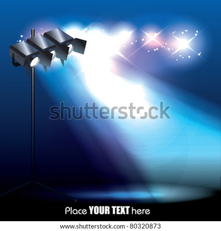 Vector Stage Spotlight with projectors - stock vector
