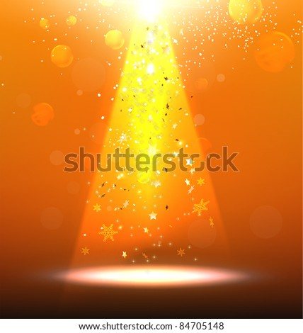 Vector Stage Spotlight with snowflakes and glow stars