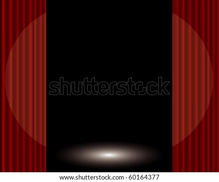vector stage with red curtain and spotlight