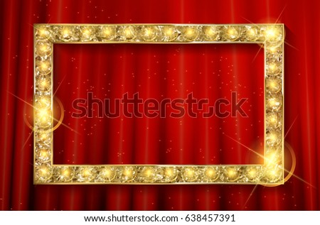 vector stage with red curtain