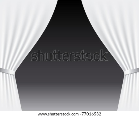 Vector stage with white curtains - stock vector