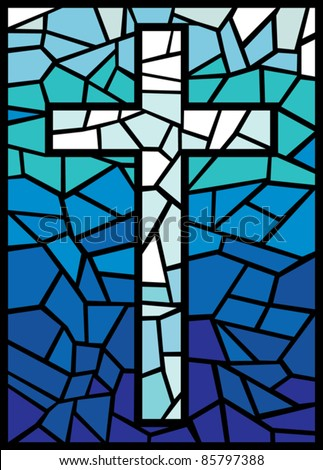vector stained glass cross (cross in stained glass style)
