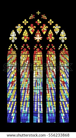 Vector Stained-Glass Window Ancient Cathedral, Temple, Church.