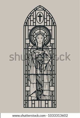 Vector Stained Glass Window The Vigrin Mary Silhouette