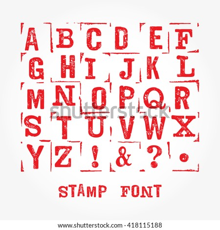 Vector stamp font with grunge texture. Vector isolated grunge stamp font on white background. Modern print letters with stamp texture. Grunge stamp font. Retro textured grunge alphabet with scratches.