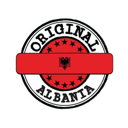 Vector Stamp of Original logo with text Albania and Tying in the middle with nation Flag. Grunge Rubber Texture Stamp of Original from Albania.