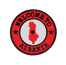 Vector stamp of welcome to Albania with map outline of the nation in center. Grunge Rubber Texture Stamp of welcome to Albania.