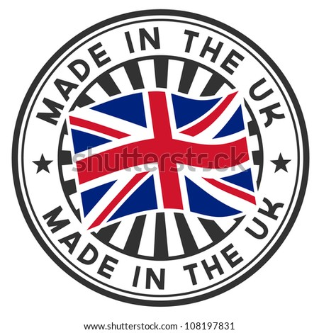 Vector stamp with flag of GB, circular lettering made in the UK.