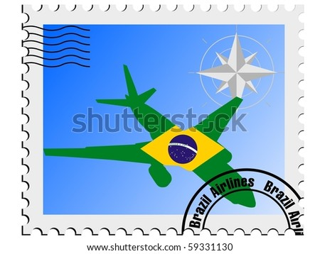 vector stamp with the flag of Brazil
