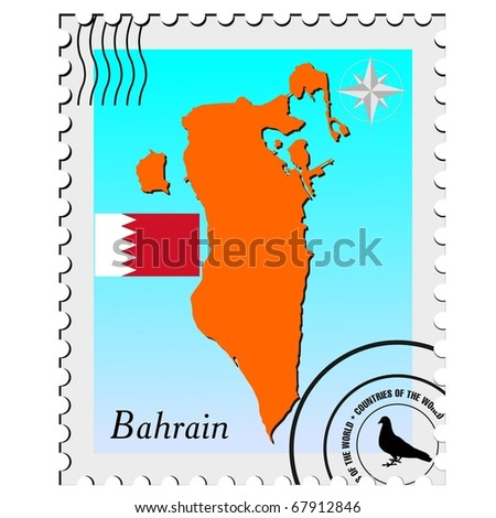 vector stamp with the image maps of Bahrain