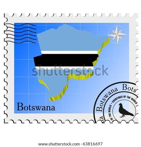maps of botswana. stock vector : vector stamp with the image maps of Botswana