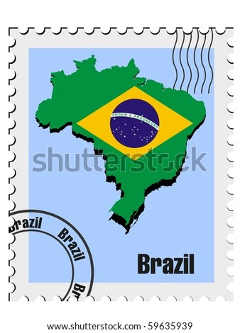 vector stamp with the image maps of Brazil