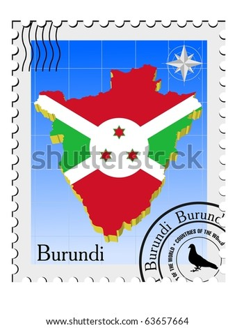 vector stamp with the image maps of Burundi