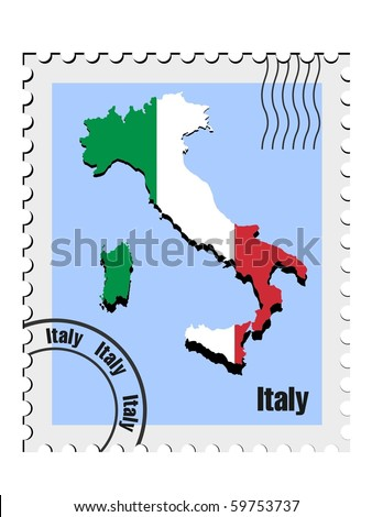 vector stamp with the image maps of Italy