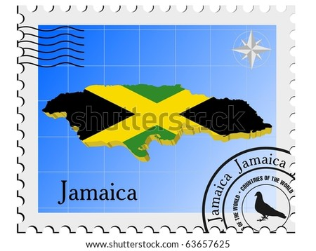 vector stamp with the image maps of Jamaica - stock vector