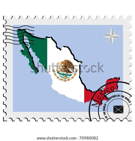 vector stamp with the image maps of Mexico