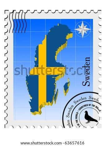 vector stamp with the image maps of Sweden