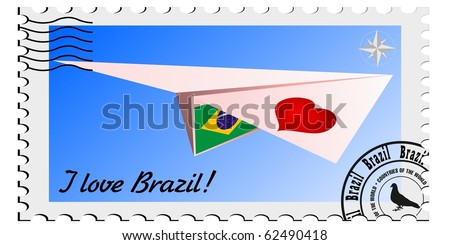 vector stamp with the image plane and the flag of Brazil